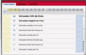 Screenshot des Fifa Livetickers