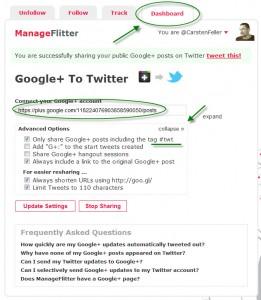 Bild von den Google+ Optionen in Manageflitter
