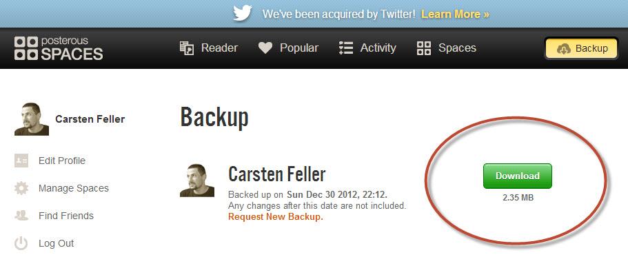 Screenshot Downloadmöglichkeit der BackUpdatei