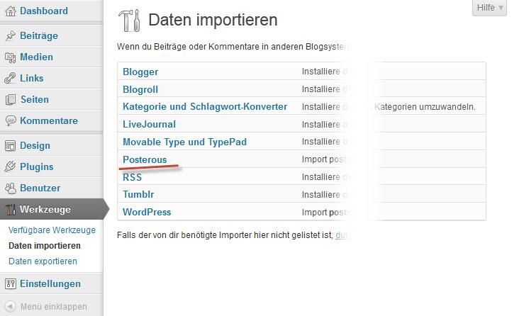 Screenshot Importmöglichkeiten WordPress Werkzeuge