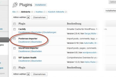 Screenshot WordPress Backend Plugins