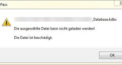 Screenshot Fehlermeldung Datenbank