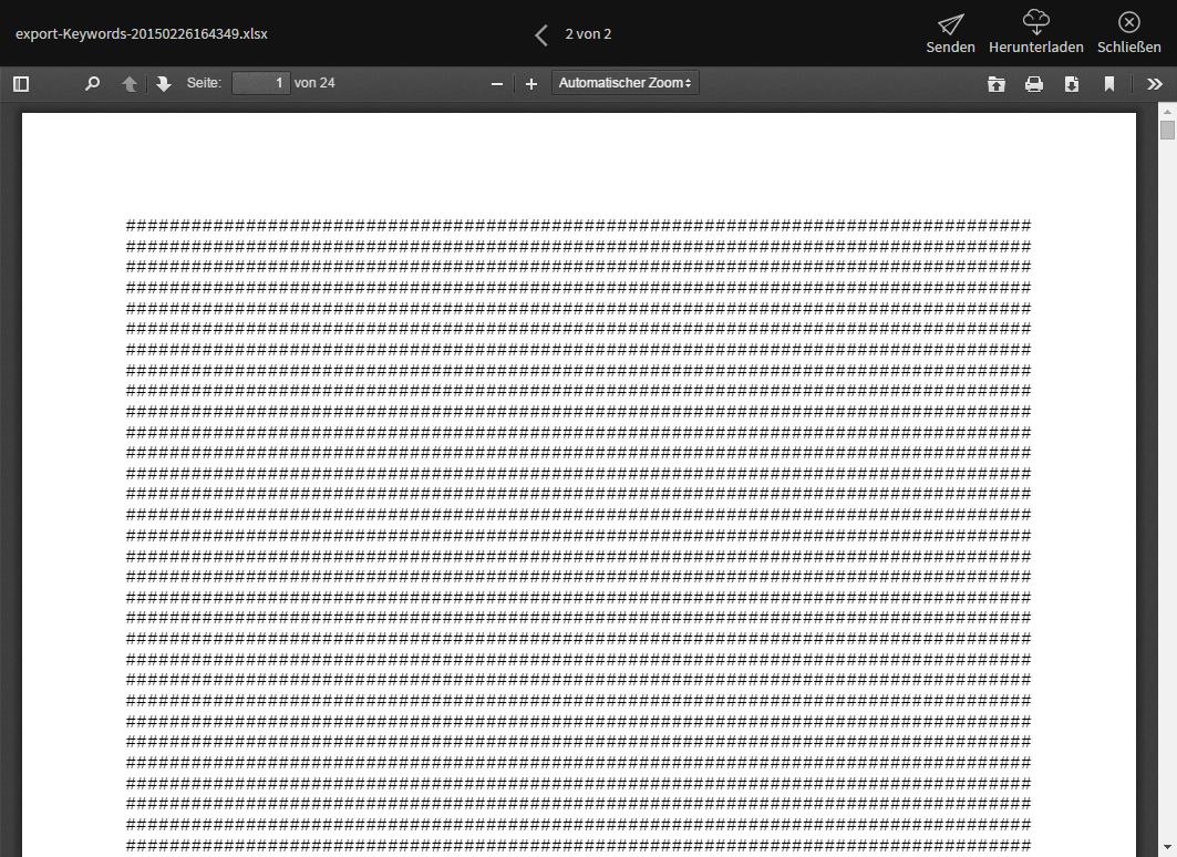 Darstellung einer korrupten Excel Tabelle im Bitcasa Viewer